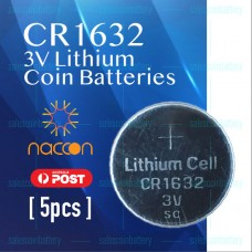 5 x CR1632 3V Lithium Batteries STOCK IN Melbourne Button Coin CR 1632 CR-1632 Naccon