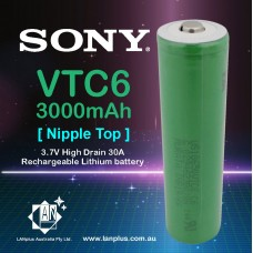 Sony 18650 VTC6 Lithium Battery 3000mAh 3.7V High Drain 30A Nipple Top Battery